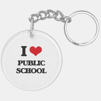 I Love Public School Double-Sided Round Acrylic Keychain