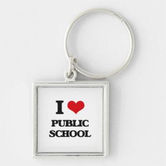 I Love Public School Silver-Colored Square Keychain