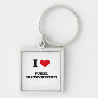 I Love Public Transportation Silver-Colored Square Keychain