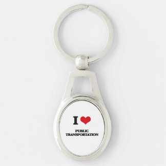 I Love Public Transportation Silver-Colored Oval Metal Keychain