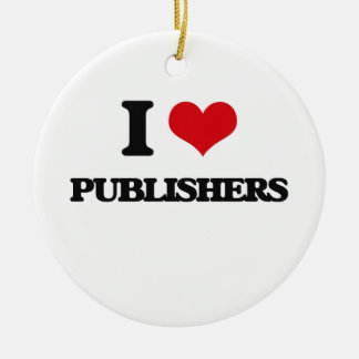 I Love Publishers Double-Sided Ceramic Round Christmas Ornament