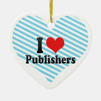 I Love Publishers Double-Sided Heart Ceramic Christmas Ornament