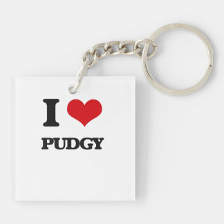 I Love Pudgy Double-Sided Square Acrylic Keychain