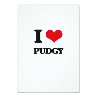 "I Love Pudgy 3.5"" X 5"" Invitation Card"