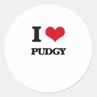 I Love Pudgy Classic Round Sticker