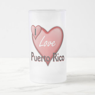 I Love Puerto Rico 16 Oz Frosted Glass Beer Mug