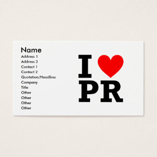 I Love Puerto Rico Design Business Card