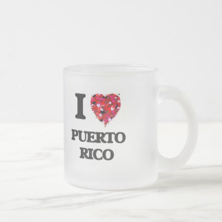 I Love Puerto Rico 10 Oz Frosted Glass Coffee Mug