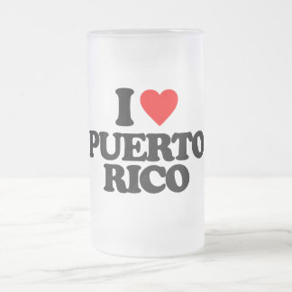 I LOVE PUERTO RICO FROSTED BEER MUGS