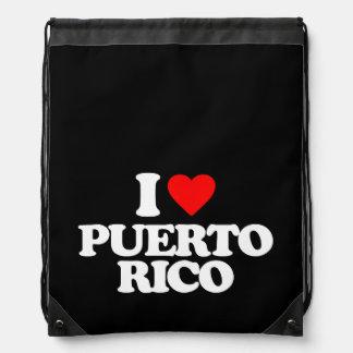 I LOVE PUERTO RICO DRAWSTRING BACKPACKS