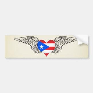 I Love Puerto Rico -wings Car Bumper Sticker