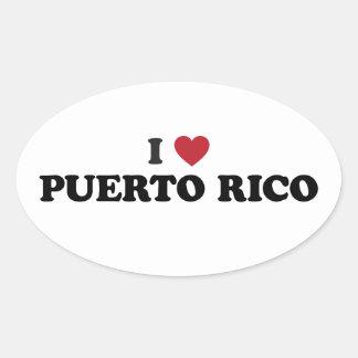 I Love Puetro Rico Oval Sticker