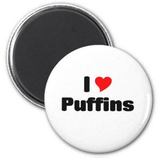 I love Puffins 2 Inch Round Magnet