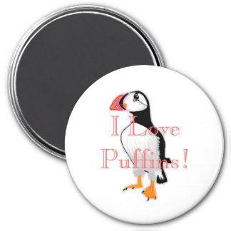 I Love Puffins! 3 Inch Round Magnet