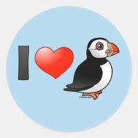 I Love Puffins Round Sticker