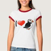 I Love Puffins Ladies Ringer T-Shirt