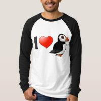 I Love Puffins Men's Canvas Long Sleeve Raglan T-Shirt