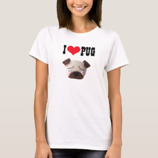 I Love Pug T-shirt Cute Funny Pug Dog T-shirt