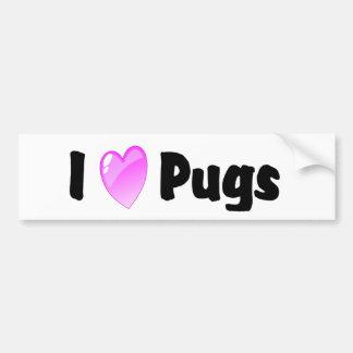 I Love Pugs Car Bumper Sticker