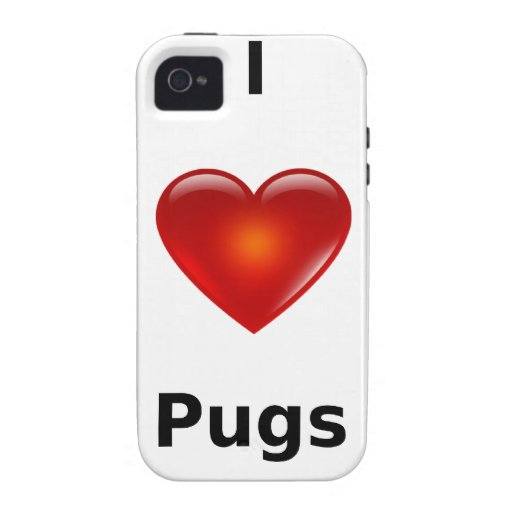 I love Pugs Case-Mate iPhone 4 Covers