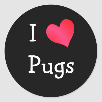I Love Pugs Classic Round Sticker