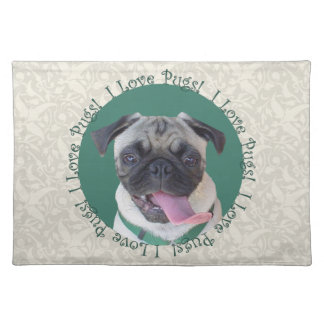 I Love Pugs! Cloth Placemat