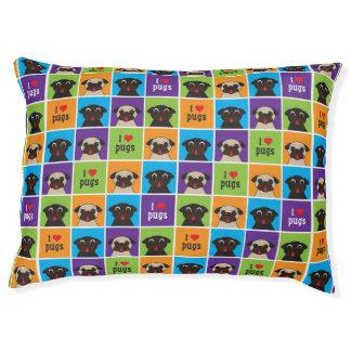 I Love Pugs Color Squares Dog Bed Large Dog Bed
