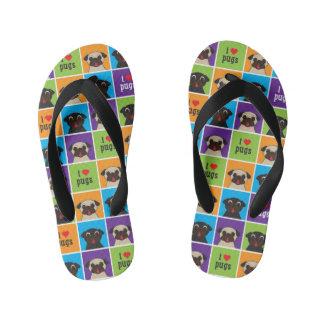 I Love Pugs Color Squares Kid's Flip Flops