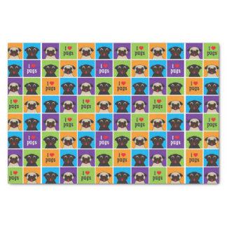 "I Love Pugs Color Squares Tissue Wrap 10"" X 15"" Tissue Paper"