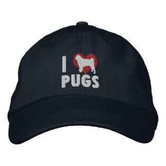 I Love Pugs Embroidered Hat (Dark)