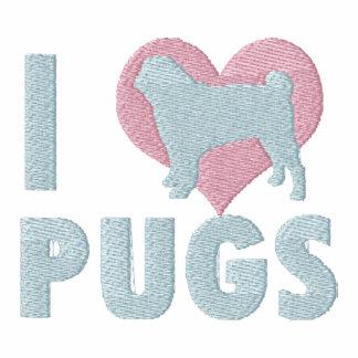 I Love Pugs Embroidered Shirt (T-Shirt)