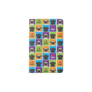 I love Pugs Fawn & Black Pug Color Square Moleskin Pocket Moleskine Notebook