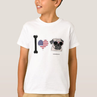 I Love Pugs - Patriotic Kids T-Shirt