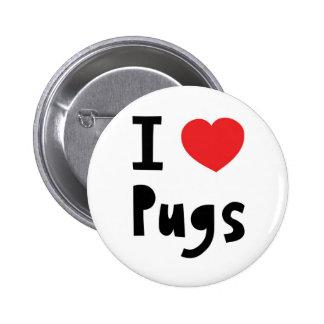 I Love pugs Pinback Button