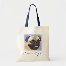 I Love Pugs Portrait Canvas Budget Totebag Canvas Bags