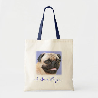 I Love Pugs Portrait Canvas Budget Totebag Tote Bag