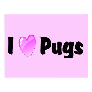 I Love Pugs Postcard
