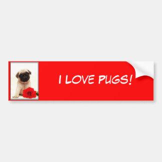 I Love pugs Pug puppy bumper sticker