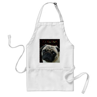 I Love Pugs with Hearts Adult Apron