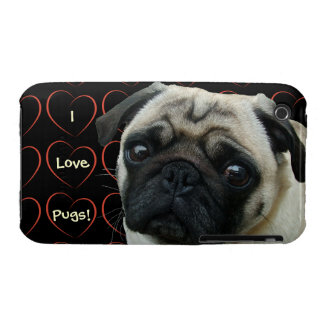 I Love Pugs with Hearts Case-Mate iPhone 3 Case