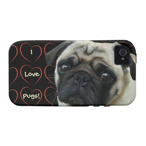 I Love Pugs with Hearts Case-Mate iPhone 4 Cases