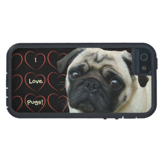 I Love Pugs with Hearts iPhone 5 Covers