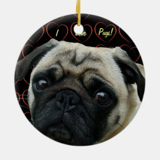 I Love Pugs with Hearts Double-Sided Ceramic Round Christmas Ornament