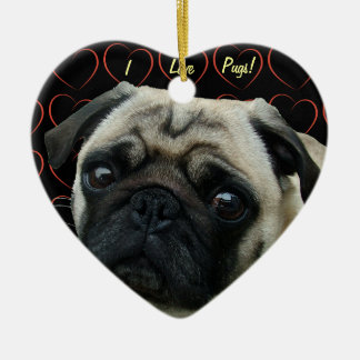 I Love Pugs with Hearts Double-Sided Heart Ceramic Christmas Ornament