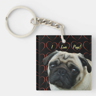 I Love Pugs with Hearts Double-Sided Square Acrylic Keychain