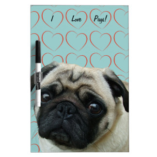I Love Pugs with Hearts Dry-Erase Board