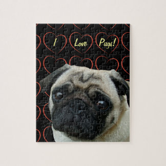 I Love Pugs with Hearts Jigsaw Puzzle