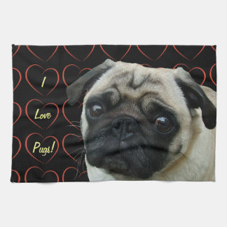 I Love Pugs with Hearts Kitchen Towels