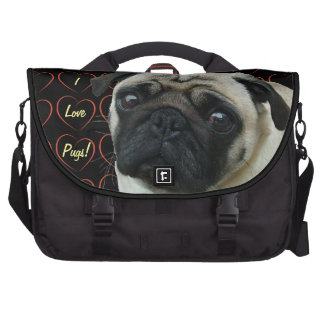 I Love Pugs with Hearts Bag For Laptop