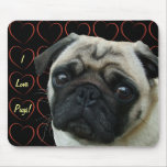 I Love Pugs with Hearts Mouse Pad